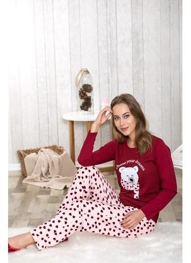 Lingabooms Yazılı Kadın 2'li Pijama Takım  Kırmızı